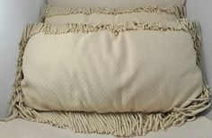 Pair of Yard Long Large Vintage Decorative Fringed Pillows Beige and Blue | eBay