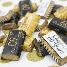 Celebrate this special birthday milestone with these gold and black 60th birthday party favor stickers that will be a sure...