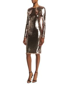 Long-Sleeve+Liquid+Sequin+Dress,+Nude+by+TOM+FORD+at+Bergdorf+Goodman.