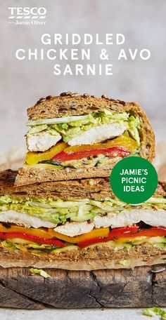 """Jamie Oliver says """"Prepare to wow with this epic sandwich that's made for sharing. Filled with layer upon layer of amazing griddled veg, chicken and avocado, plus a creamy sauce for dipping, this is some seriously tasty picnic food"""" Healthy Dinners, Quick Meals, Healthy Foods, Healthy Recipes, Lunch Recipes, New Recipes, Yummy Recipes, Love Food, A Food"""