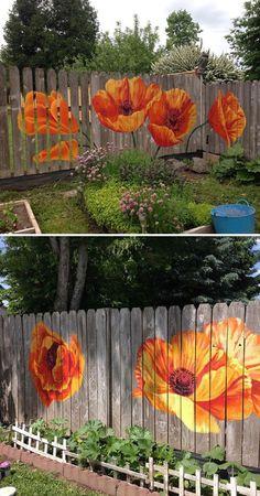 Fence Poppies by Megan Lingerfelt at Private Residence, Puyallup Garden Fence Art, Garden Yard Ideas, Diy Fence, Garden Crafts, Garden Projects, Fence Ideas, Mural Art, Graffiti Art, Yard Art