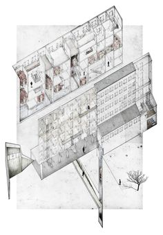 "AXONOMETRIC | pencil on paper + digital collage // ""The Rügen Institute for the Conservation of Sound"""