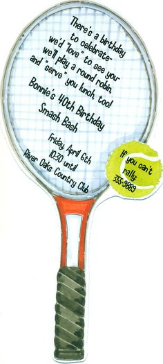 Cute tennis party invitations! Tennis Racket & Ball invitation ... Cool idea