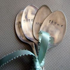 Garden Stampings vintage spoon herb collection - herb markers - spoon plant markers
