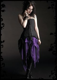 Gothic Clothing & Dark Romantic Couture: Artemisia Skirt in Pointed Layered Chiffon