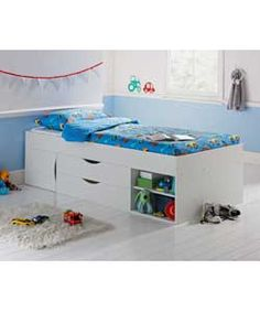 Kaden Single Cabin Bed Frame - White. Something like this for E' s room, depending on height.
