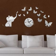 Hot acrílico espelhado móveis sala relógio de parede adesivos de espelho alishoppbrasil