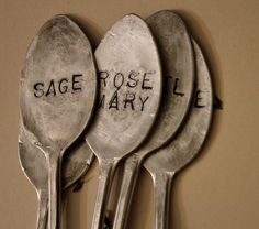 SUCH a clever idea!  I bet I could get a stamp set and buy old flatware from thrift shops so much less expensively than I've been buying all those copper nameplates...