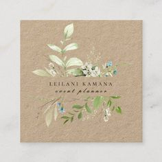 Shop Elegant Watercolor Wildflower Botanical Kraft Square Business Card created by PoshPaperCo. Modern Business Cards, Business Card Size, Professional Business Cards, Magnolia Wreath, Flower Logo, Wedding Stationery, Wedding Cards, Wild Flowers, Color Pop