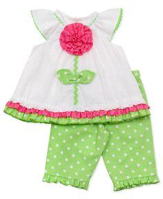 Rare Editions Baby Set, Baby Girls Flower Top and Polka Dot Leggings Set - Kids - Macys
