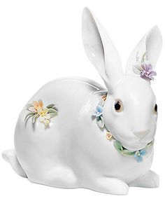 Lladro Collectible Figurine, Attentive Bunny with Flowers