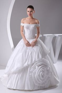 Robe de mariée avec fleurs plissé de bustier taffetas textile taffetas