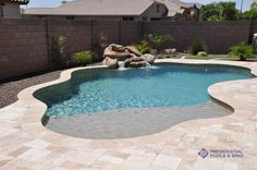 simple pool with sand bar by presidential pools, needs a spa! Small Backyard Pools, Backyard Pool Designs, Small Pools, Swimming Pools Backyard, Swimming Pool Designs, Pool Landscaping, Backyard Patio, Backyard Ideas, Steep Backyard