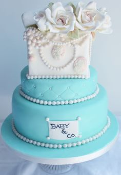 Baby Shower - Tiffany and co baby shower cake.