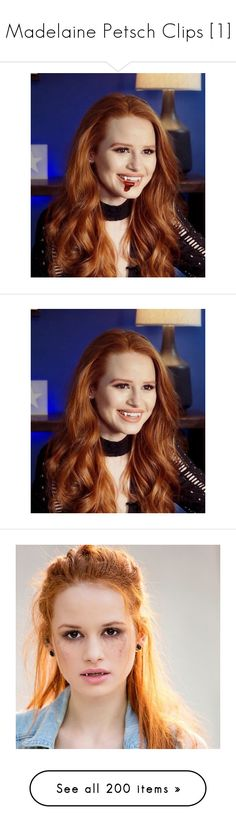 """""""Madelaine Petsch Clips [1]"""" by clary-potter-the-demiwitch ❤ liked on Polyvore featuring riverdale, camila mendes, tops, get lost, people, heart tops, ginger tops, images, madelaine petsch and home"""