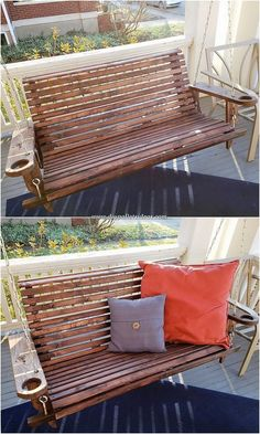 Cheap Ideas Made with Recycled Wood Pallets: As you do hit your mind thinking about some superb ideas of reusing wooden pallets then you do plan up with so many innovative ideas. Diy Pallet Sofa, Diy Pallet Projects, Pallet Furniture, Pallet Benches, Pallet Ideas, Wood Projects, Recycled Pallets, Wooden Pallets, Recycled Wood