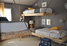 Hanging Daybed, Creative and Innovative Bedroom Design DIY by Ana White Suspended Bed, Suspended Shelves, Modern Bunk Beds, Hanging Beds, Diy Hanging, Hanging Rope, Hanging Shelves, Wall Shelves, Hanging Chairs