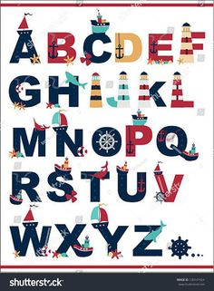 Nautical Alphabet Wall Decals - Wall Decals, Playroom Wall Decals, Custom wall decals - Just For You Wall Decals Nautical Letters, Nautical Prints, Alphabet Wall Decals, Daycare Themes, Custom Wall Decals, Backdrop Design, Old World Maps, Nautical Party, School Decorations