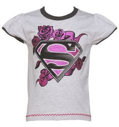Kids Grey Marl DC Comics Supergirl Glitter Rose Logo Cap Sleeve T-Shirt