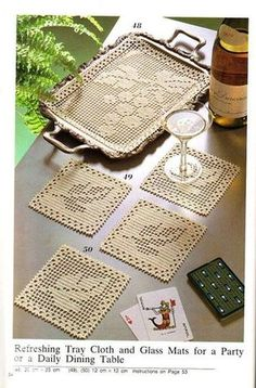 Filet Crochet tray mat and coasters - Grapes and Grape Leaves. Crochet Placemats, Crochet Table Runner, Crochet Doily Patterns, Crochet Squares, Crochet Motif, Crochet Designs, Crochet Doilies, Crochet Flowers, Crochet Coaster