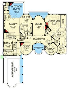 Breathtaking Mediterranean House Plan - 36475TX   European, Mediterranean, Spanish, Luxury, Photo Gallery, Premium Collection, 1st Floor Master Suite, Butler Walk-in Pantry, CAD Available, Den-Office-Library-Study, Loft, MBR Sitting Area, Media-Game-Home Theater, Multi Stairs to 2nd Floor, PDF   Architectural Designs