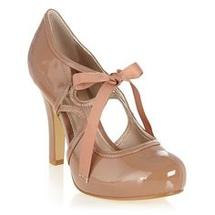 Natural ribbon and cut out Mary Janes - High heel shoes - Shoes & boots - Women - Tie Heels, Shoes Heels, Cute Shoes, Me Too Shoes, Mary Janes, Ribbon Shoes, Mary Jane Heels, Kinds Of Shoes, Debenhams