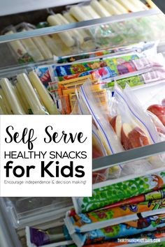 Self Serve Healthy Snacks for Kids! Encourage independence and decision making. Healthy snack ideas for kids.