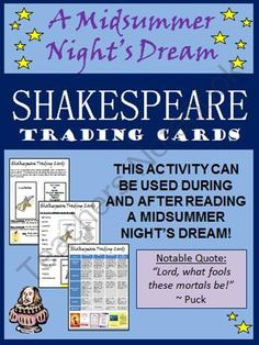 Shakespeare - A Midsummer Nights Dream Trading Card Activity from The Classroom Sparrow on TeachersNotebook.com (7 pages)