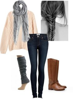 Brown leather boots, jeans & gray scarf