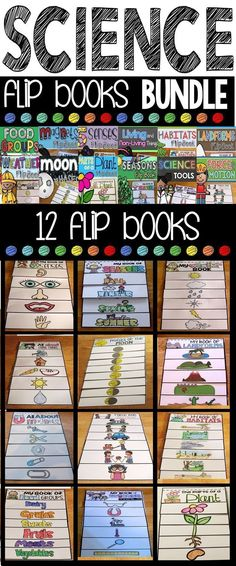 Science Flip Books. The science flip books bundle contains all 12 interactive science flip books.  Each flip book contains multiple versions for the differentiated classroom!  Topics included are: Seasons, Weather,Food Groups,  5 Senses, Science Tools, Ma