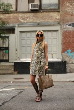 leopard '60s dress with gladiator sandals