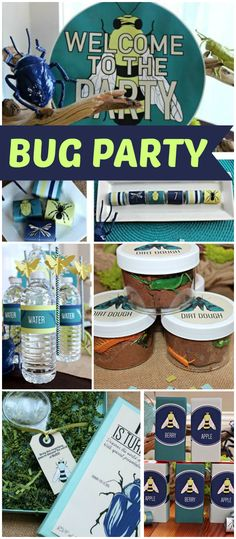 How fun is this bug birthday party?! Love the colors!  See more party ideas at CatchMyParty.com!