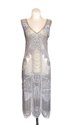 Cabaret Vintage - 1920s Style Silver Flapper Dress - The Bosley ...