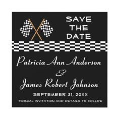 Checkered Flag Save The Date Wedding Announcement invitation
