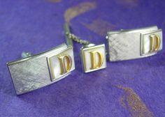 Distinctive Monogrammed D MOP Cufflinks by NeatstuffAntiques