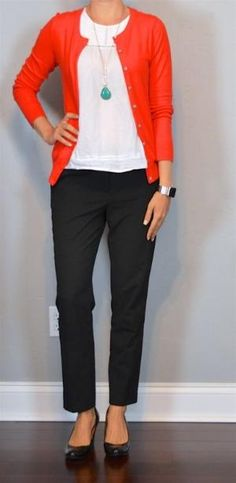 outfit post: red cardigan, white blouse, black cropped pants, teal necklace… by hope