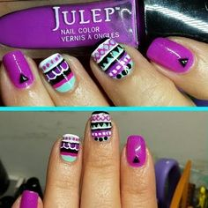 This nail art goes tribal with this mix of bright purple, blue, white and black nail polish. Add some fun fashion studs to complete this manicure. DIY using these product essentials.