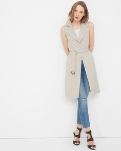"Marbled buttons give this sleeveless trench a hint of contrast. If you want to make a bigger color statement, remove its self-belt and replace it with our cinnamon obi belt.   Sleeveless tweed trench   Fully lined    Polyester/spandex. Machine wash, cold.   Approx. 41"" from shoulder   Imported"