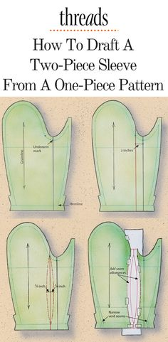 Sewing Techniques Couture - Find out how to convert a one-piece sleeve pattern into a two-piece jacket sleeve in this Web Extra from Threads Sewing Projects For Beginners, Sewing Tutorials, Sewing Hacks, Sewing Tips, Sewing Ideas, Techniques Couture, Sewing Techniques, Sewing Art, Sewing Crafts