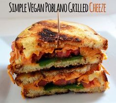 Quick  Simple Classic Gone Vegan Poblano Grilled Cheeze with Tempeh Bacon - Vegetarian Snob is super simple because it uses store bought Daiya cheese, but the use of the poblanos and garlic powder mutes the flavor a bit!