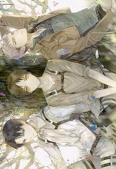 Levi & Eren & Jean | Shingeki no Kyojin #anime  http://memipong.deviantart.com/art/Levi-x-Eren-x-Jean-396077357