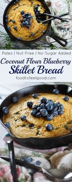 Fantastic Healthy Paleo Coconut Flour Blueberry Skillet Bread - Super yummy and comforting on a cold morning, plus easy to make. Gluten Free Baking, Gluten Free Recipes, Low Carb Recipes, Diabetic Recipes, Cooking Recipes, Yeast Free Recipes, Cooking Ideas, Bread Recipes, Healthy Recipes