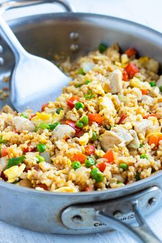 A quick and Easy Chicken Fried Rice Recipe that tastes as authentic as takeout but is made with healthy oil, gluten-free soy sauce, and full of good-for-you vegetables! This is the best fried rice recipe and your family is sure to love it! Best Fried Rice Recipe, Chicken Fried Rice Recipe Easy, Fried Chicken, Gluten Free Soy Sauce, Gluten Free Rice, Gluten Free Chicken, Healthy Side Dishes, Good Healthy Recipes, Healthy Eats