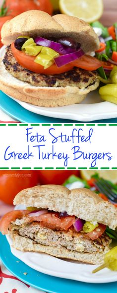 These Feta Stuffed Greek Turkey Burgers are PACKED with amazing flavor! They are perfect for summer grilling! Turkey Recipes, Veggie Recipes, Cooking Recipes, Healthy Recipes, Wrap Recipes, Side Dish Recipes, Greek Turkey Burgers, Delicious Burgers, Ground Turkey