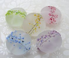 Lampwork Glass Beads Rainbow Blossom UK per bead by shineon2, £3.65