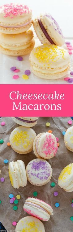 Make Easter fun with this simple recipe for colorful Cheesecake Macarons. French Macarons sandwiched together with fruity Cheesecake. via Baked by an Introvert