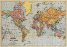 Vintage Map Posters - World Map General
