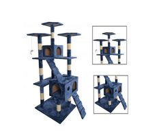 nice New Blue Cat Tree Scratcher Play House Condo Furniture Toy Bed Post Pet House 9073 Cat Tree House, Cat Tree Condo, Cat Condo, Tree Houses, Cool Cat Trees, Bed With Posts, Furniture Scratches, Condo Furniture, Cat Scratcher