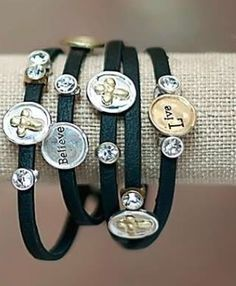 Love, Faith, Believe Cross Charm wrap bracelet from www.cowgirlshine.com $15