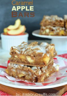 Caramel Apple Bars – Cake mix bars get a fun twist when filled with caramel, apples and walnuts